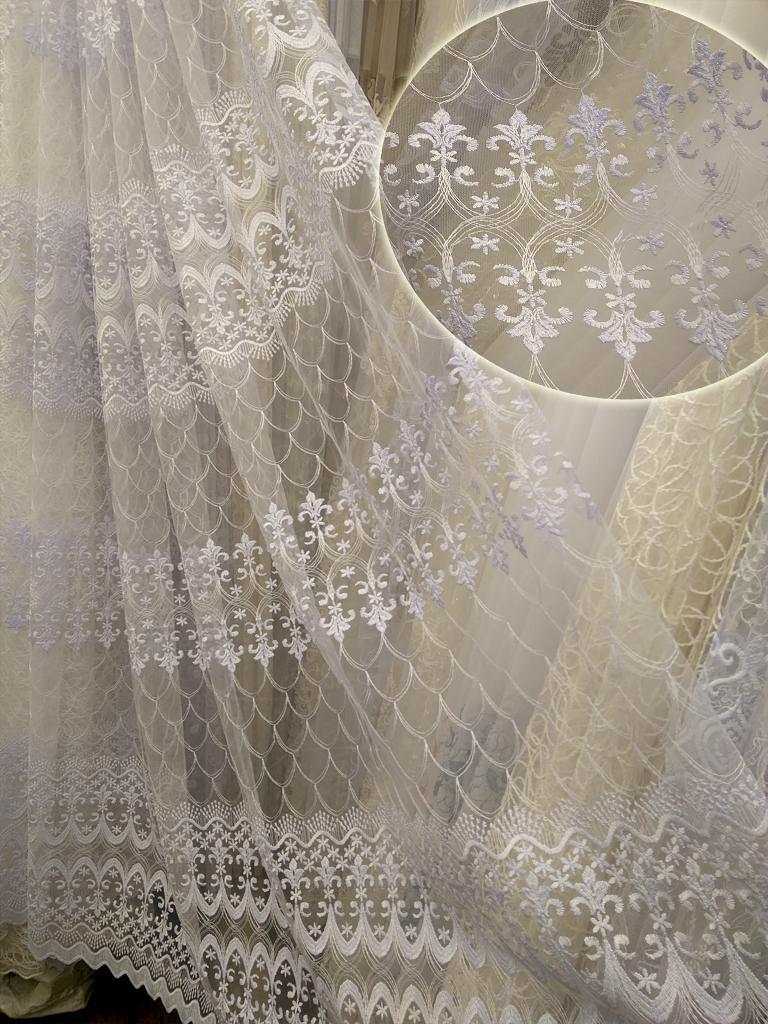 Тюль на сітці «Мірінда» білого кольору