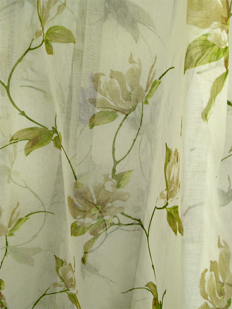 Тюль на батисті кольоровий принт «Мімоза» зеленого кольору